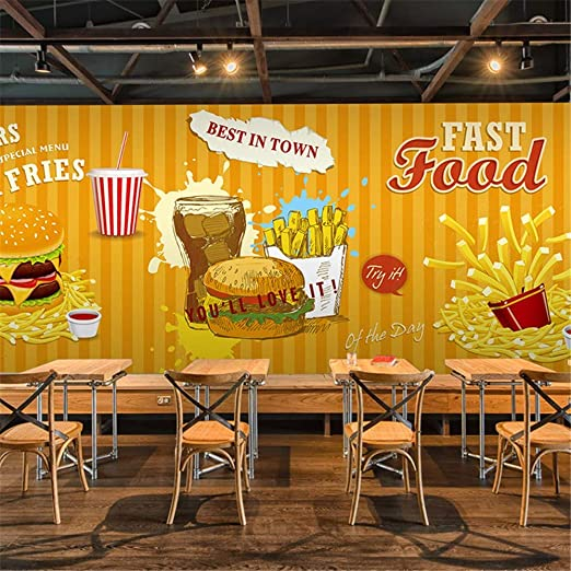 Sucsaistat Mural de Papel Tapiz 3D Comida rápida Hamburguesa Papas ...