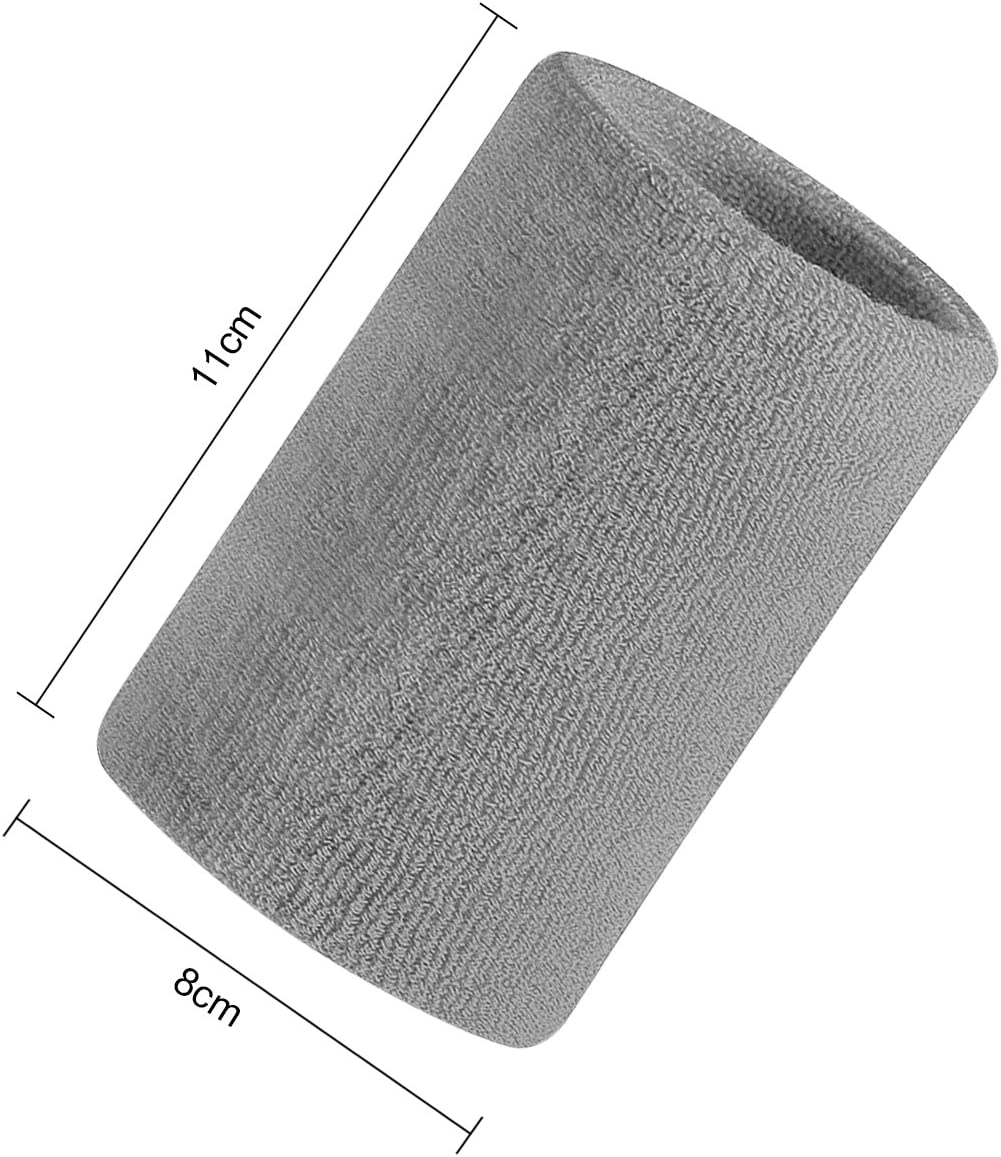 Moisture Wicking Cotton Terry Cloth Stretch Sweat Wrist Arm Band Brace Wrap for Tennis Basketball Running Workout Yoga Gym Fitness Footabll Sweatband Wristband Sports Athletic Wristband for Women Men