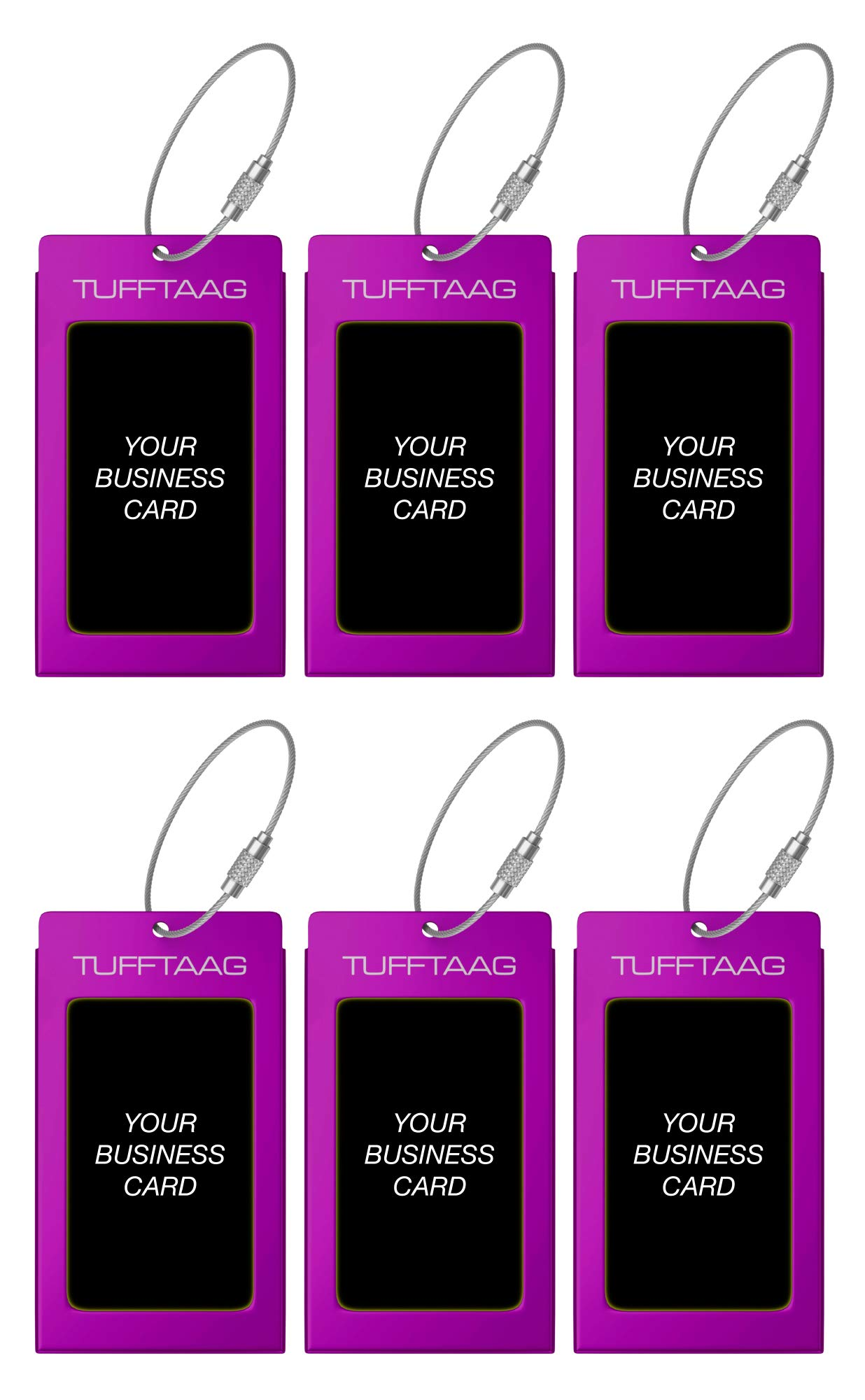 Luggage Tags TUFFTAAG for Business Cards, Metal Suitcase Labels, 6 Pack Bundle (6 Purple) by ProudGuy