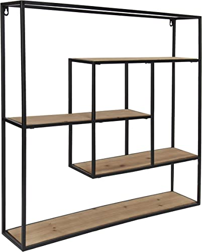 Kate and Laurel Ulna Large Modern Decorative Floating Wall Shelves with Black Metal Frame, Rustic Brown Wood