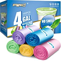 Small Trash Bags, FORID 4 Gallon Garbage Bags Thin Material Small Size 15-liters for Office, Home Waste Bin, 150 Counts 5 Color