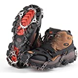 SHARKMOUTH Ice Cleats Crampons Traction, Ice Snow Grips for Boots Shoes, Anti Slip 19 Stainless Steel Spikes and Durable…