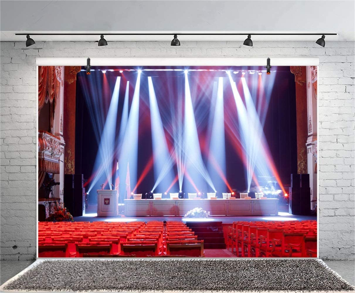 8x6.5ft Big Hall Interior Bright Stage Backdrop Polyester Bright Interlaced White Red Spotlights Vacant Red Seats Background Award Ceremony Talent Show School Openning Ceremony Photocall Shoot