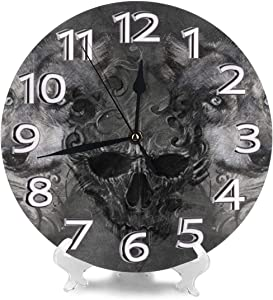 Lplpol Vintage Wood Hanging Clock Wall Clock Skull Figure Canine Clock 12 Inch Battery Operated Clocks Non Ticking Decorative Clock for Living Room Bedroom Garage Kitchen