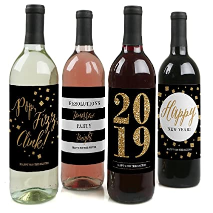 custom new years eve gold personalized 2019 new years eve party wine bottle labels