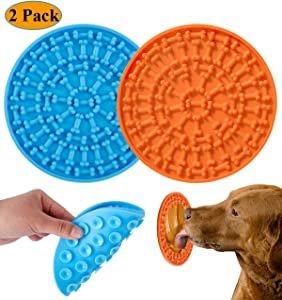 2020 New Version Dog Lick Pad, Orange Slow Feeder Lick Mat for Dogs, Dog Peanut Butter Lick Pad, Durable Silicone with Strong Suction Licking Mat for Pet Bathing, Grooming, and Dog Training 2 Pack