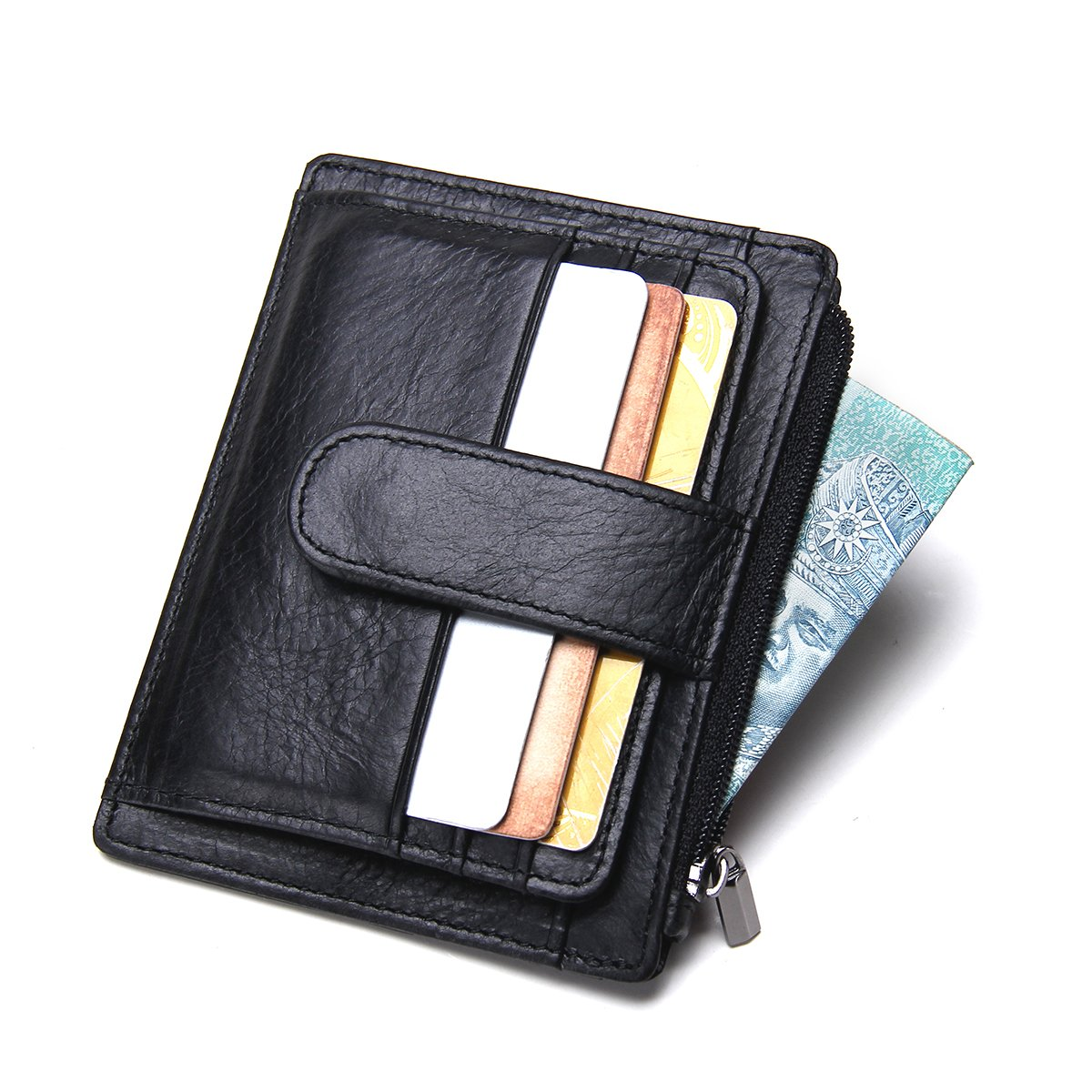 Contacts Mens Genuine Leather Mini Thin Slim Money Clip Card Coin Purse Wallet Black 1007