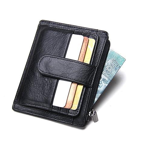 Contactos Mini fina de piel auténtica para hombre Slim Clip de dinero tarjeta moneda Monedero cartera