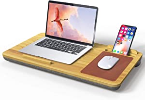 Laptop Desk Stand Wooden with Mouse Pad - Fits up to 15 inches Holder Lap Desk Adjustable with Pillow Cushion Wrist Pads, Laptop Mat Stand for Notebook, MacBook, Book Tablet Portable with Phone Holder