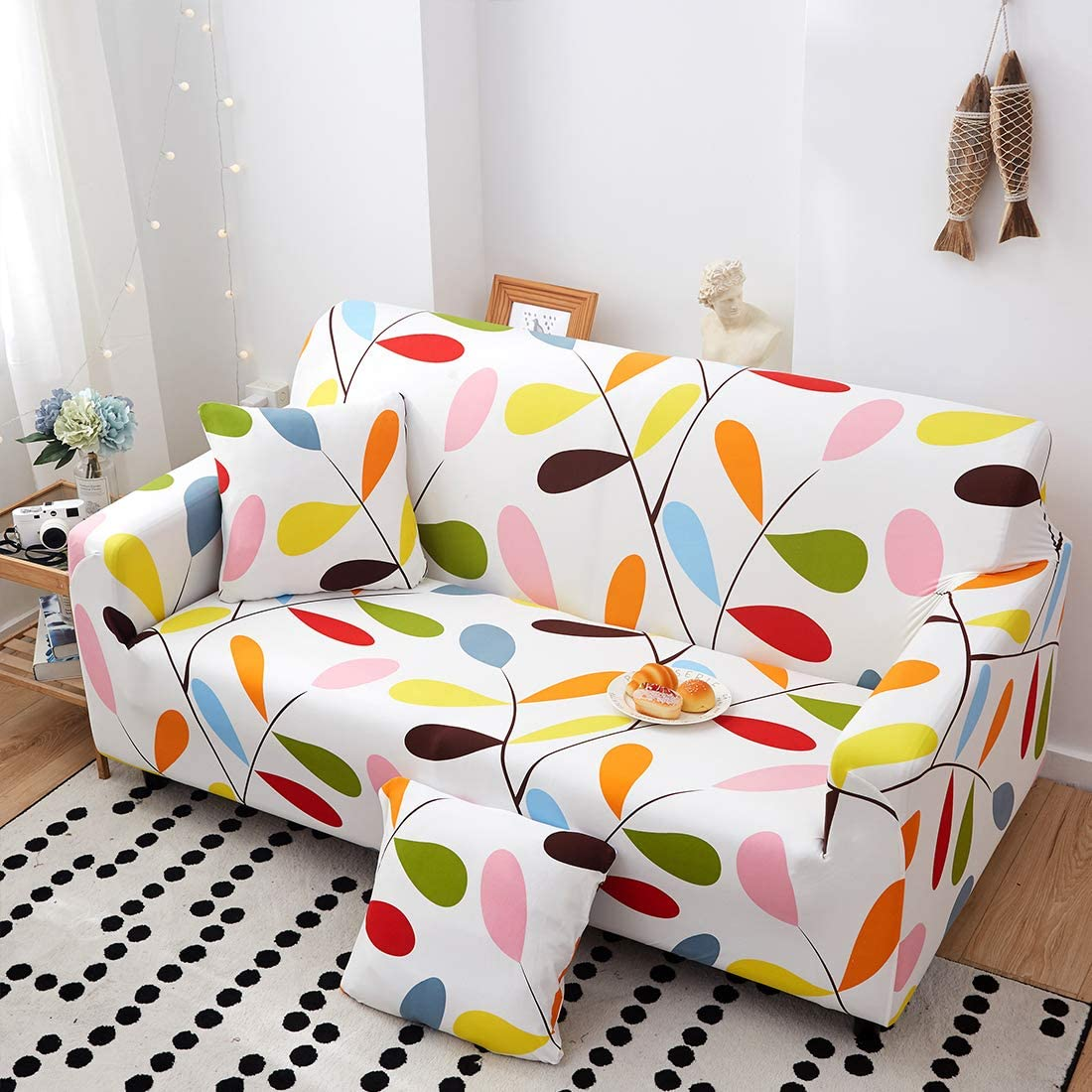 Sofa FORCHEER Stretch Sofa Cover Printed Pattern 4-Seat Spandex Couch Cover slipcover for 4 Cushion Couch 1 Piece Furniture Protector for Living Room Pets