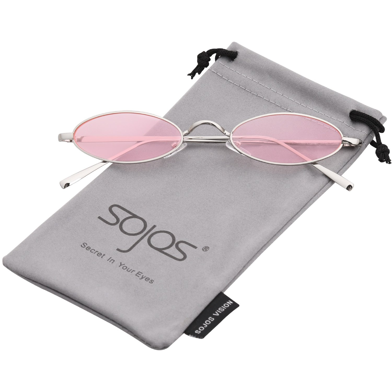 6d6af6112b6 Amazon.com  SOJOS Vintage Slender Oval Sunglasses Small Metal Frame Candy  Colors SJ1084 with Silver Frame Pink Lens  Clothing