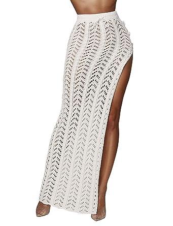 01d0db0bd1 Kistore Womens Sexy A Line High Slit Maxi Skirt Hollow Out See Through Long Club  Dress