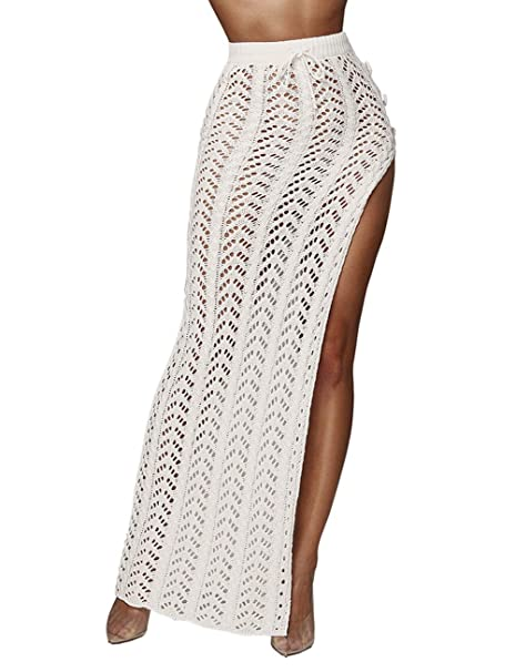 100% high quality fashion design release date Kistore Womens Crochet Cover Up Skirts Sexy Hollow Out Beach Maxi Skirt  with Side Slits
