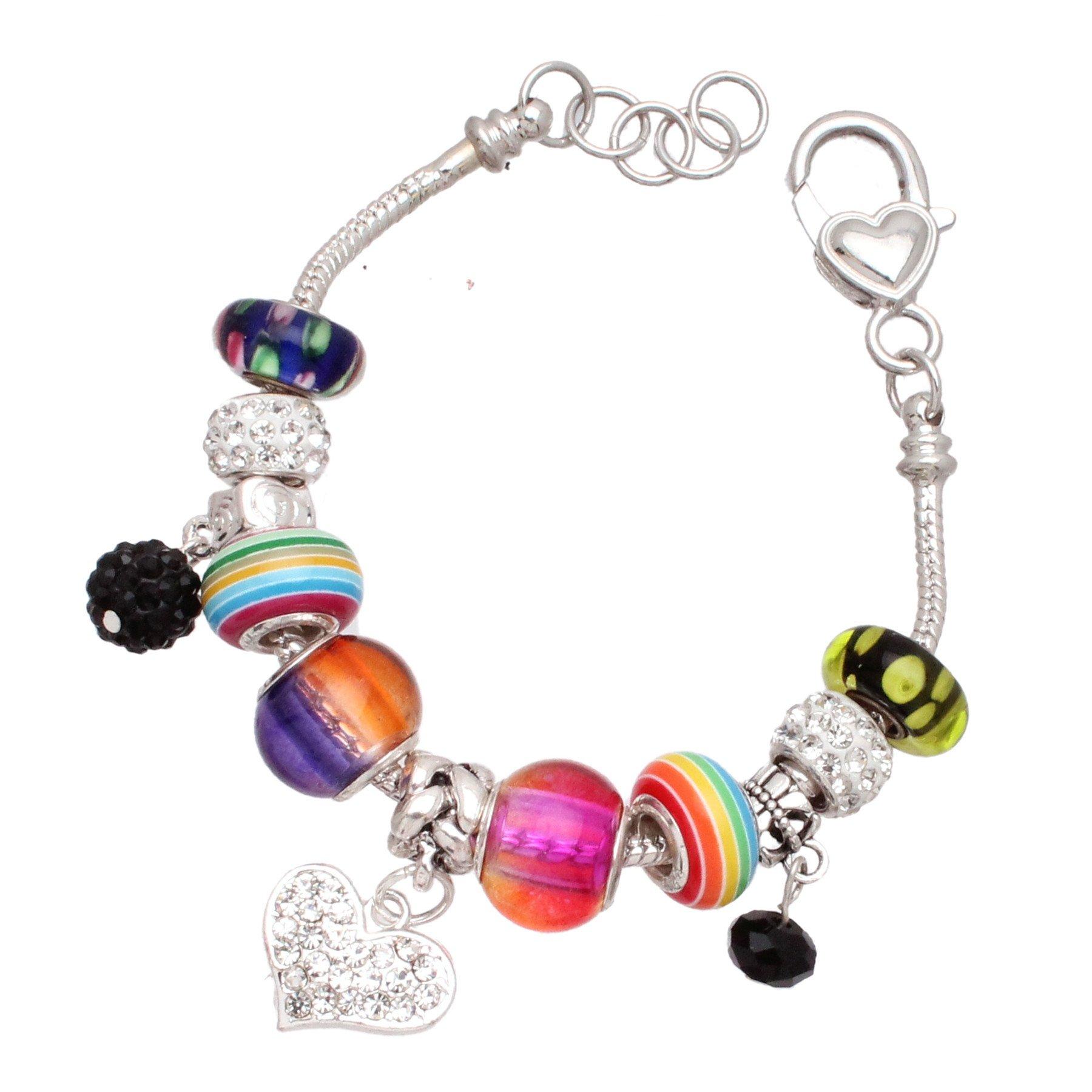 Bleek2Sheek Punky Pop Silver Italian-Style Charm Fashion Bracelet Jewelry