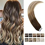 "LaaVoo 18"" Finest Remy Tape in Human Hair Extension Balayage Ombre Dark Brown Fading to Medium Brown and Blonde Straight Skin Weft Hair Extension 20Pcs 50G/Package"