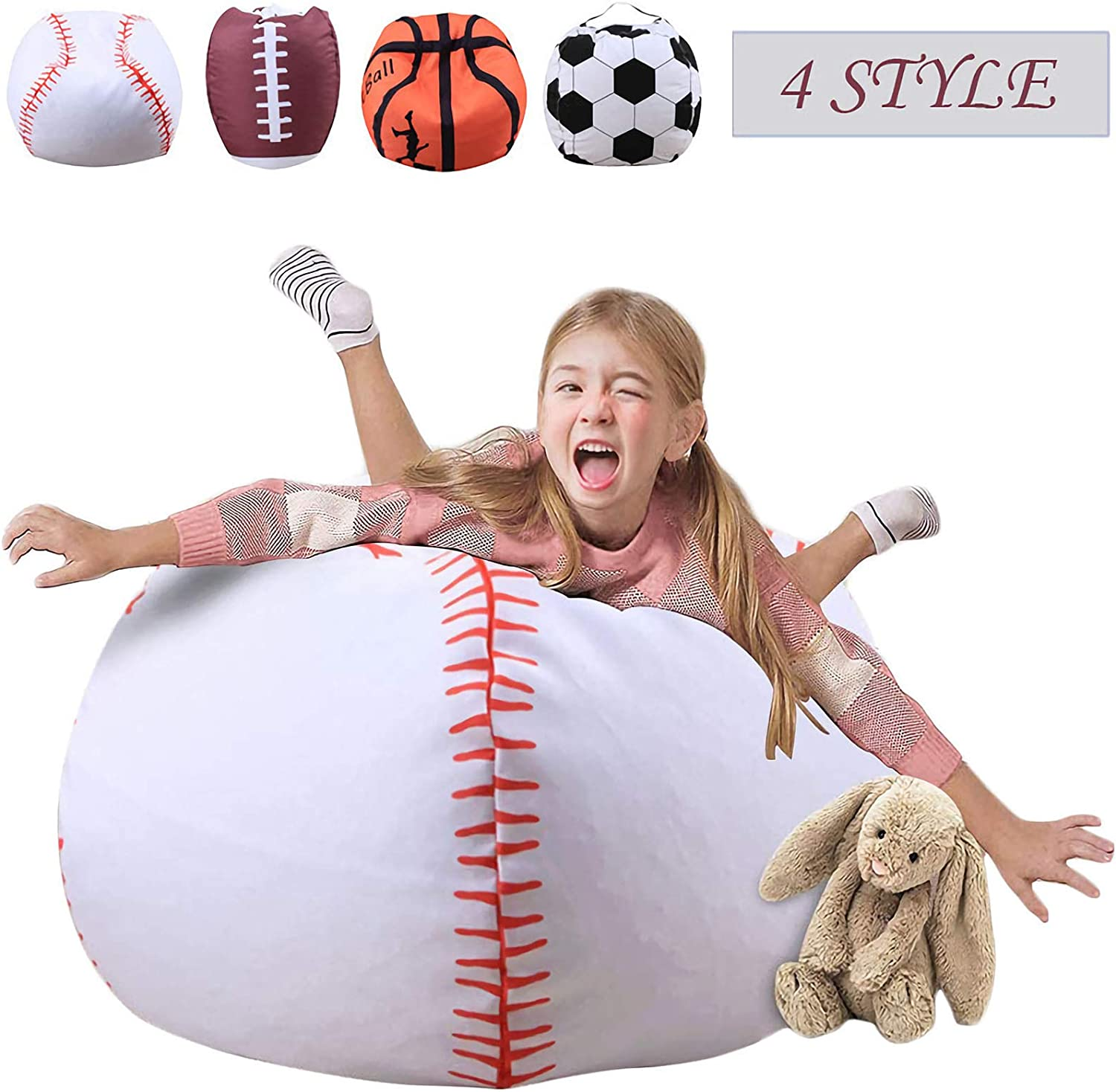 Storage Bean Bag Chairs for Kids 26 Inch Stuffed Animal Extra Large Blanket Fill Beanbag Cover Plush Organizer for Child Stuffed Seat Storage Sack Soft Smooth Polyester Kid'S Room,Baseball