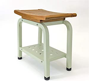 Ritz Teak & Aluminum Indoor Outdoor Shower/Bath/Spa/Patio Stool Bench, Seat Chair with Storage Shelf and Adjustable TPR Feet, Anthology Spa Collection, B104/SGE (Light Sage)