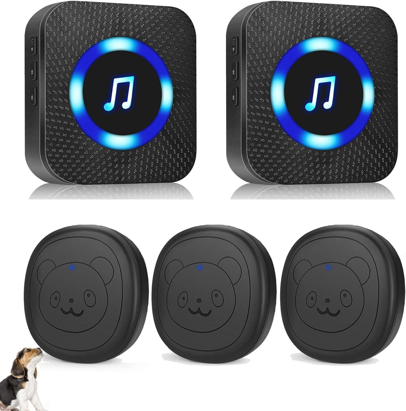 1 Receiver /& 2 Transmitters Daytech Dog Door Bell Wireless Doggie Doorbell for Potty Training with Touch Button
