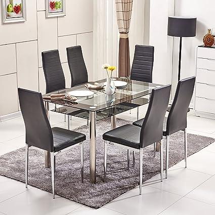 Ospi Juego de sillas y mesa de comedor de cristal templado ...