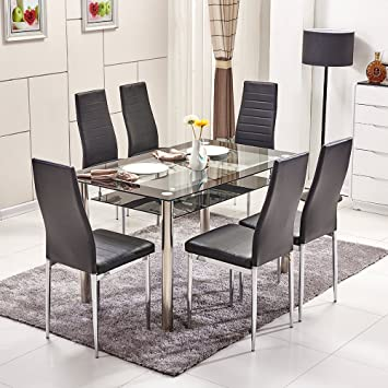 Ospi 2 Tier Tempered Glass Dining Table Chairs Sets Black Color