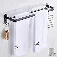 Handdoekenrek in de Badkamer, Handdoekstang, Matzwarte Handdoekbeugel Met Twee Handdoekbeugels en Haakontwerp, Roestvrij…