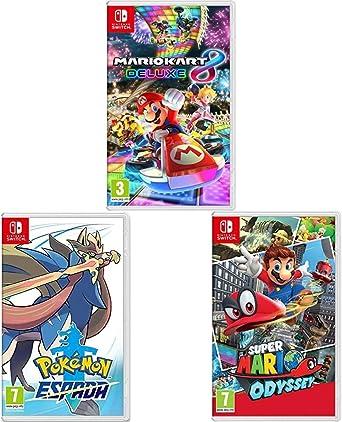 Nintendo Mario Kart 8 Deluxe + Super Mario Odyssey + Pokémon Espada Switch: Amazon.es: Videojuegos