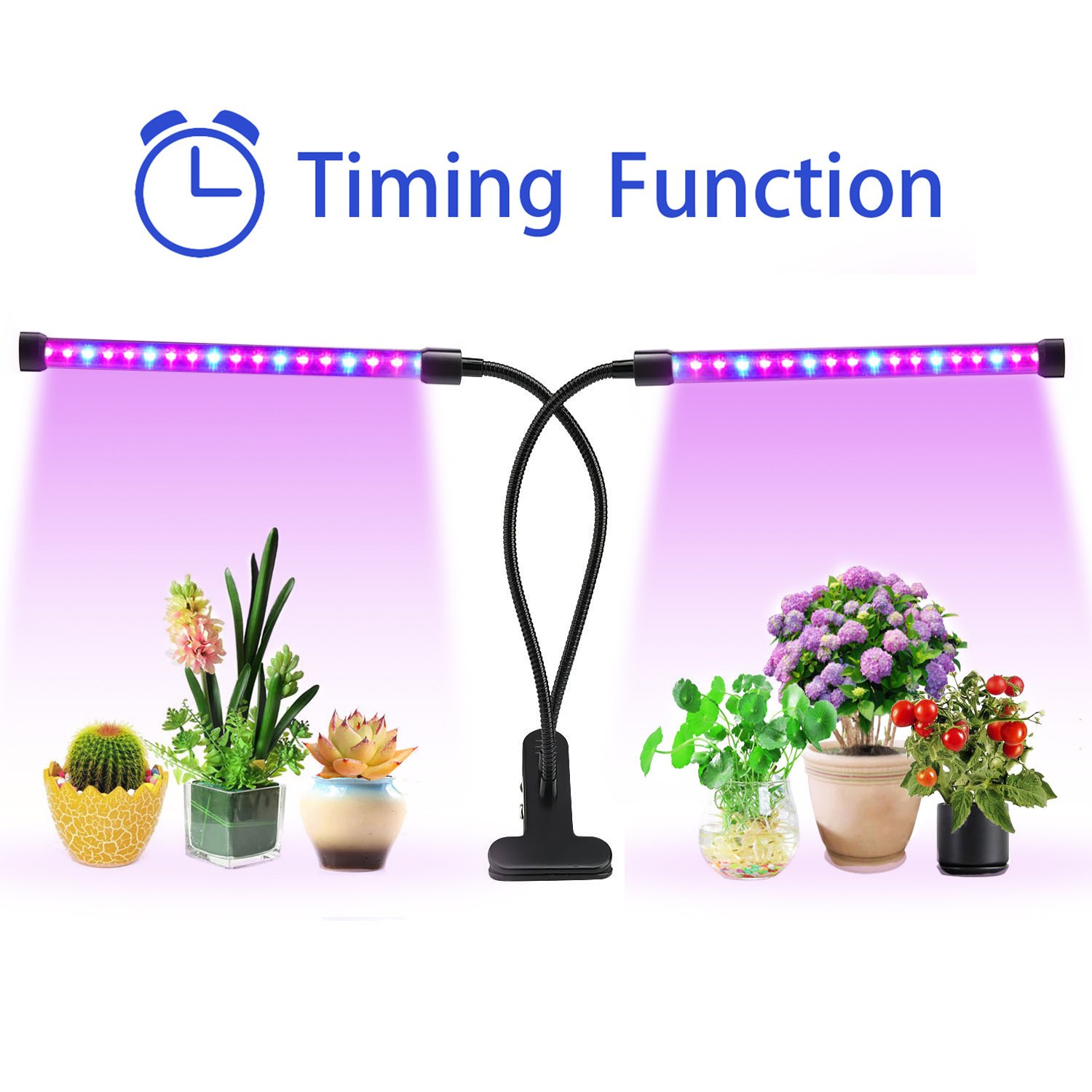 Lovebay Timing Function Dual Head Grow Light 36LED 5 Dimmable Levels Grow Lamp Bulbs with Adjustable 360 Degree Gooseneck for Indoor Plants Hydroponics Greenhouse Gardening [2018 Upgraded] by Lovebay