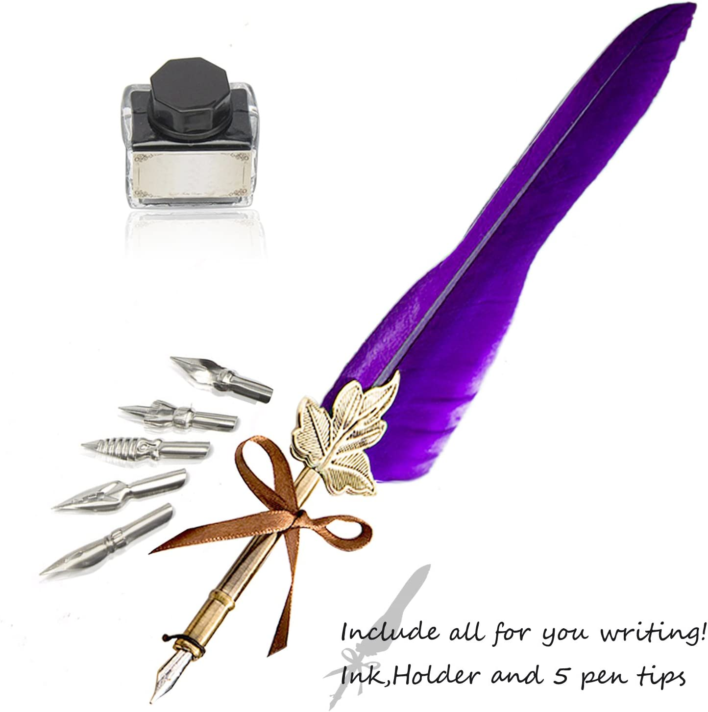 Purple Feather Pen GloDeals Antique Calligraphy Pen Handcrafted Feather Quill Pen Set Writing Quill Dip Pen with 5 Replacement Nibs Pen Nib Base,Dip Ink Bottle in Gift Storage Box