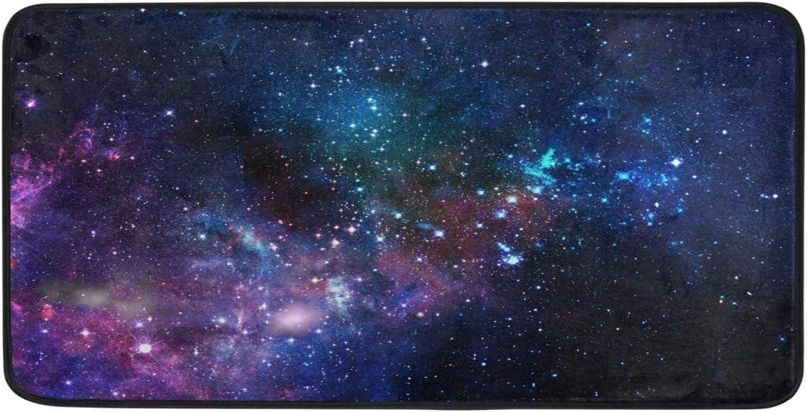 MOFEIYUE Star Space Galaxy Kitchen Rug Mat Non Slip Anti Fatigue Standing Mat Runner Rug Washable for Kitchen Bathroom , 50x99 cm