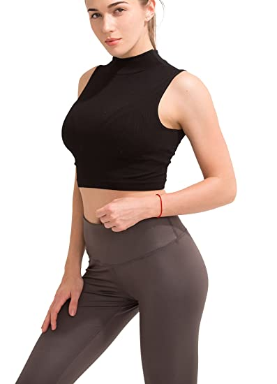 36833ac9d7617 PULI Women s Fitted Crop Top Seamless Sleeveless Turtleneck Shaping Tank Top  Mock Turtleneck Shirt Tops with