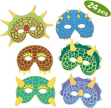 Máscaras para fiestas de dinosaurios,24 Pack Máscaras de espuma ...