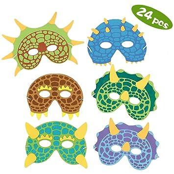 Máscaras para fiestas de dinosaurios,24 Pack Máscaras de espuma para disfraces de dinosaurios Suministros para fiestas de cumpleaños Mascarada para ...
