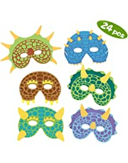 SPECOOL Dinosaur Party Masks, 24 Pack Costume De Dinosaure Mousse Masques Fête D'anniversaire Fournitures Mascarade Pour Enfants À Thème Faveurs De Fête Décorations et Chapeaux