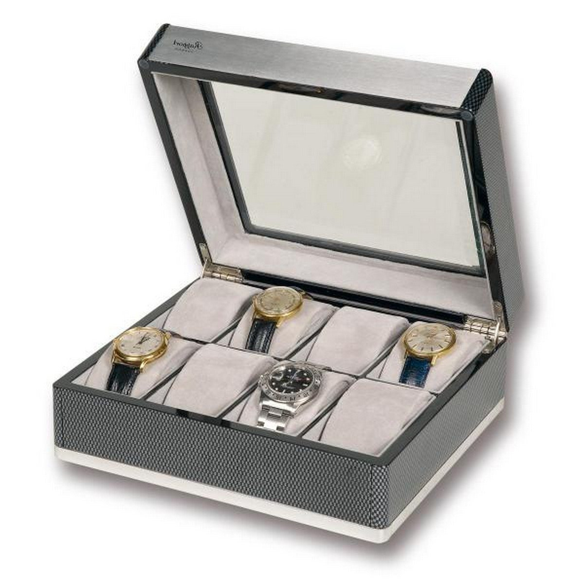 Rapport London F3 Carbon Fiber Collector 8 Watch Box w/ Glass Lid