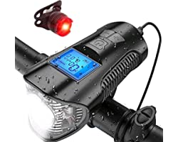Bike Odometer Bicycle Speedometer Super Bright Waterproof for Bike Light Set 4 Light Modes & Trumpet Fits All Bicycles, Mount