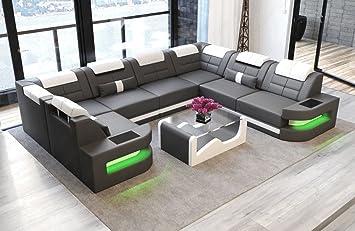 Sofa Dreams Leder Wohnlandschaft Como U Form Grau Weiss Amazon De