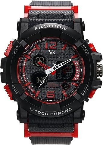 Reloj digital para hombre, color negro, clásico, informal, con cronógrafo multifunción, deportivo, de cuarzo, para hombres