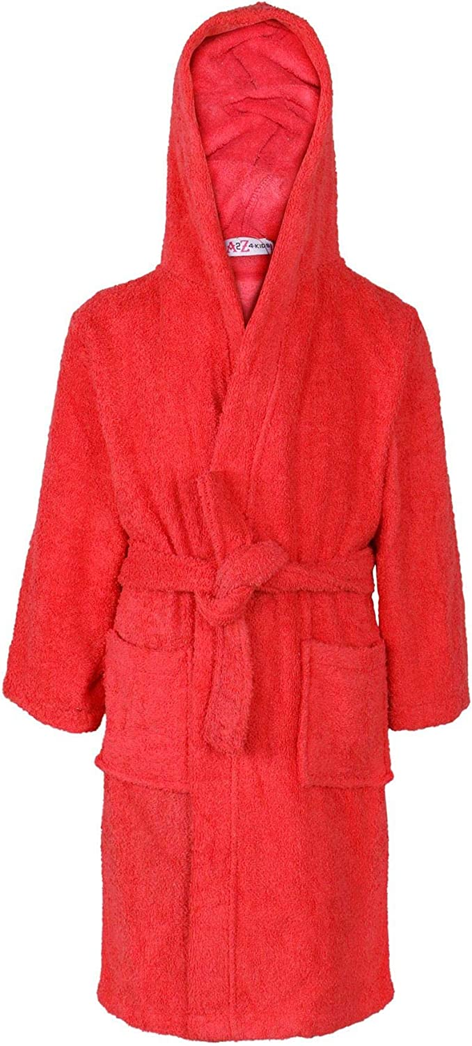 a2z4kids Kids Girls Boys Cotton Soft Terry Hooded Bathrobe Luxury Dressing Gown 3-13 Year Red