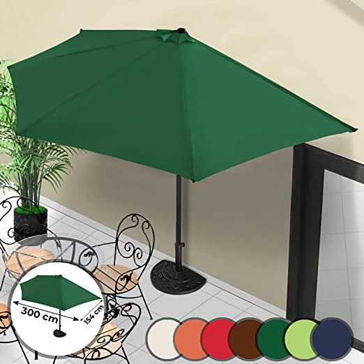 MIADOMODO Sombrilla de Terraza - 300x150cm, Protección Solar UV30+, Mástil de Acero Ø38mm, Sistema de Manivela, Poliéster 160g/m2, Color a Elegir - Parasol para Jardín y Patio con Ventilación: Amazon.es: Jardín
