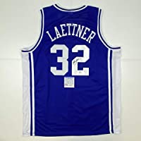 $109 » Autographed/Signed Christian Laettner Duke The Shot Blue College Basketball Jersey PSA/DNA COA
