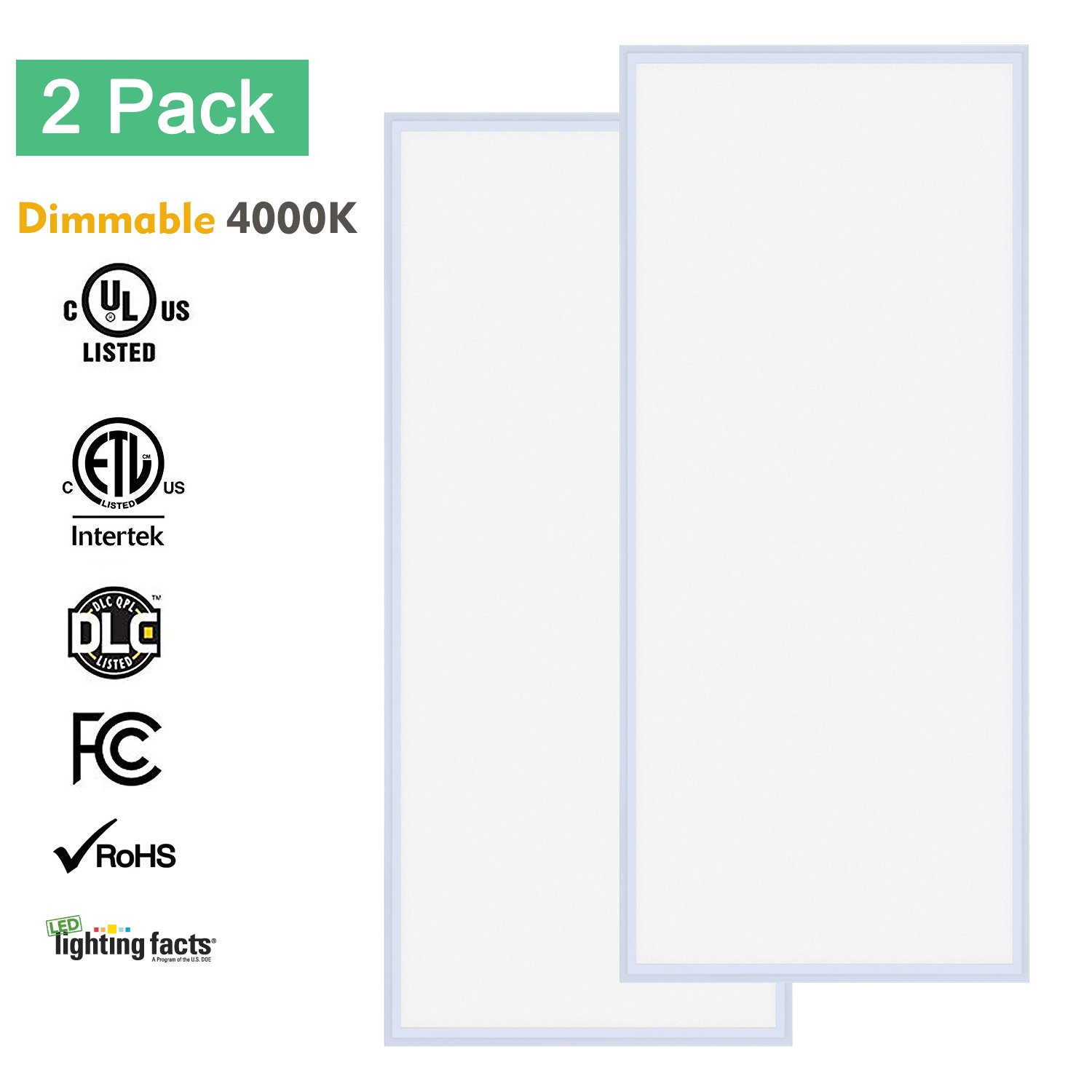 LED Flat Panel Light 2x4, Allsmartlife 2x4 LED Panel Light Fixture Dimmable 4000K((Bright White), 0-10V, 60W, 6215Lumens, 100-277Vac - DLC-Qualified and Lighting Facts