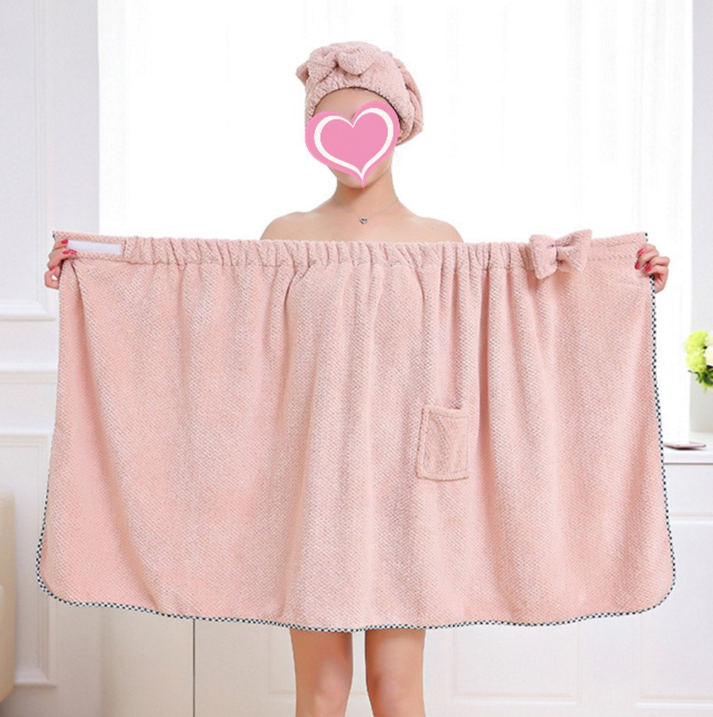 Skyseen Women's Bath Wrap Set, Adjustable Shower Wrap and Hair Drying Cap Spa Wrap Set Shower Towel,Pink