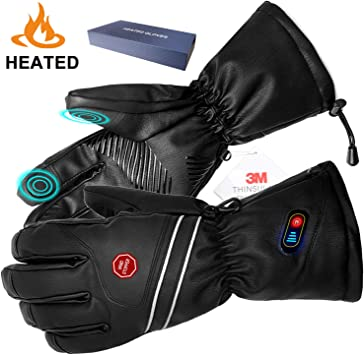 Rechargeable Battery Electric Leather Heated Hands Outdoor Winter Warmer Gloves