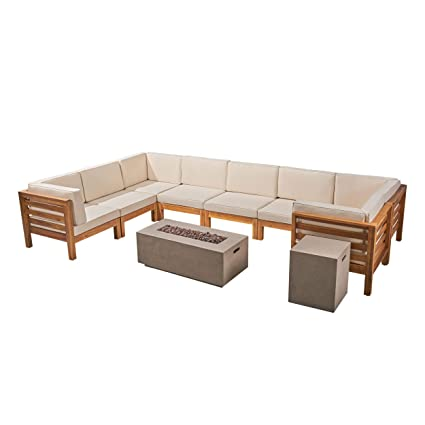 Great Deal Furniture Annabelle Outdoor U-Shaped Sectional Sofa Set with Fire Pit - 10-Piece 8-Seater - Acacia Wood - Outdoor Cushions - Teak with ...