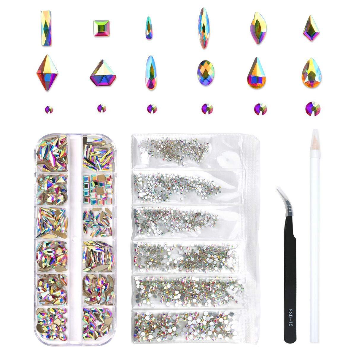 240 Piece Multi Shapes Glass Crystal AB Rhinestones For Nails Art 3D Decorations, Mix 12 Styles FlatBack Nail Crystals Gems Set (240 pcs Crystals+1728 pcs rhinestones) by Nibiru