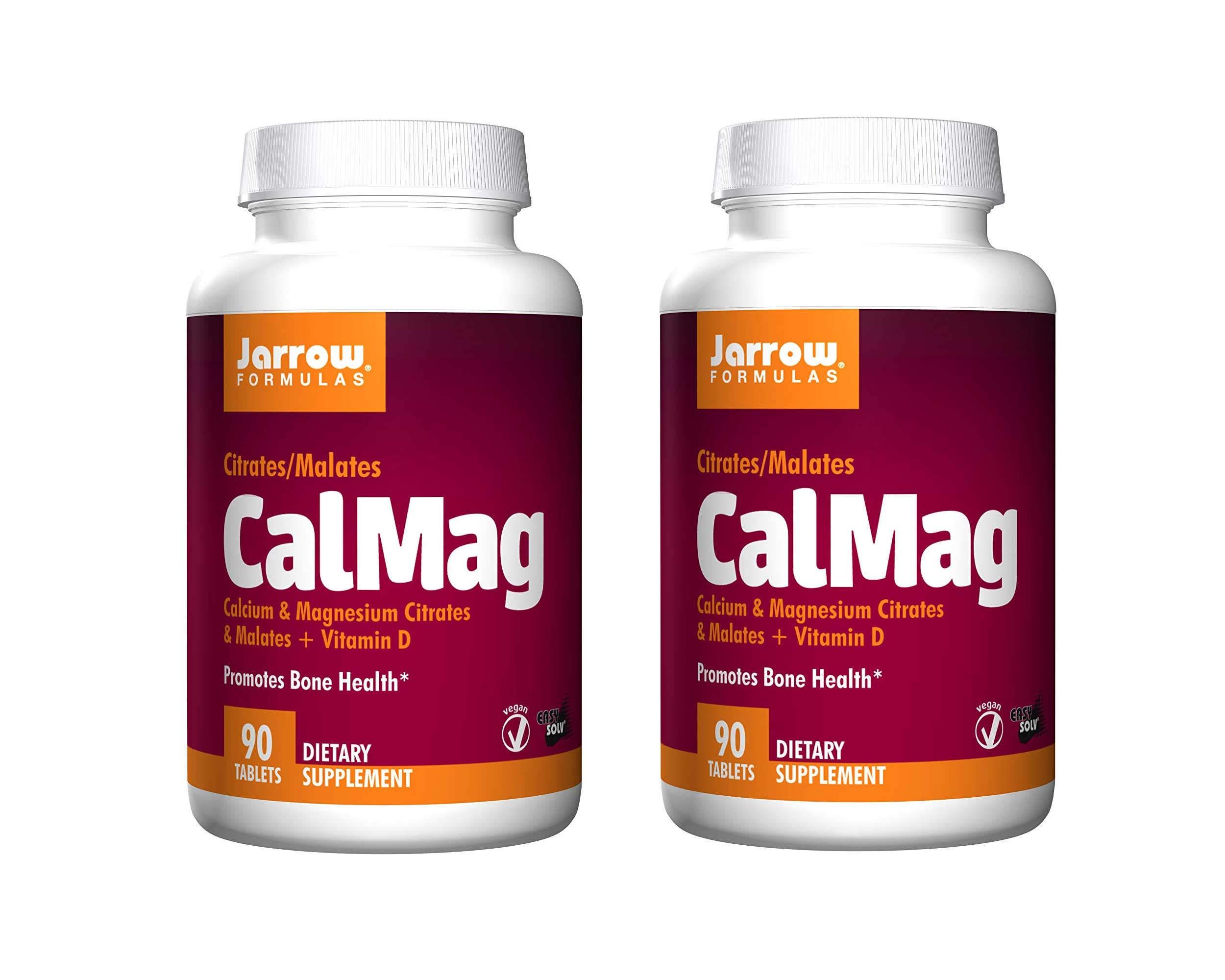 Jarrow Formulas CalMag Calcium Magnesium Citrates and Malates Plus Vitamin D Promotes Bone Health Vegan Dietary Supplement - 90 Tablets (Pack of 2) by JARR0W