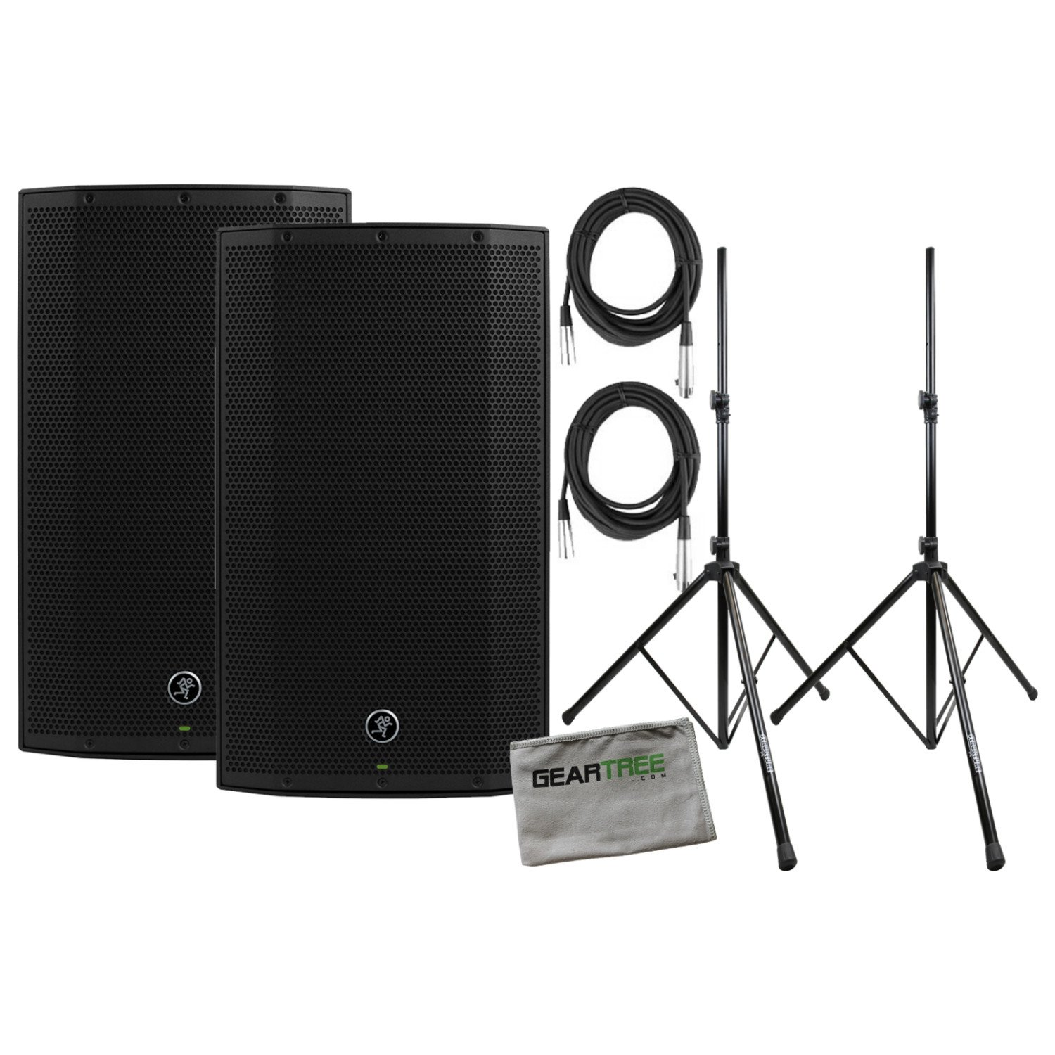 Mackie Thump15A 15 Inch Powered Loudspeaker NEW 2017 w/Speaker Cleaning Cloth, Stands, and 2 XLR Cables