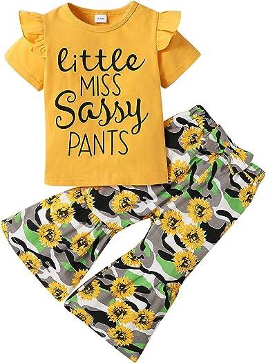 puseky Conjunto de ropa de moda para niñas con volantes ...