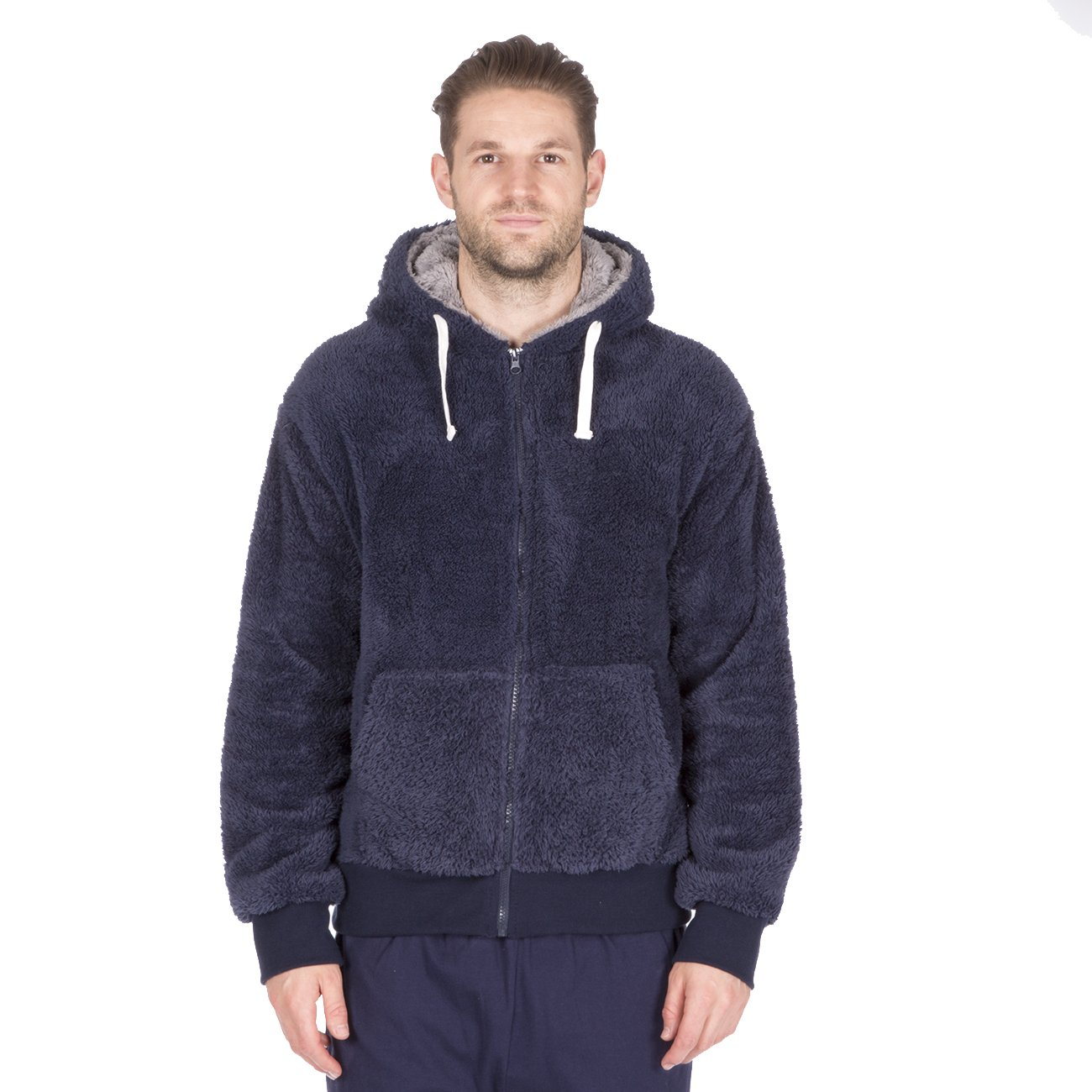 CargoBay Mens Snuggle Fleece Hooded Polyester Lounge Hoodie Top with Pockets