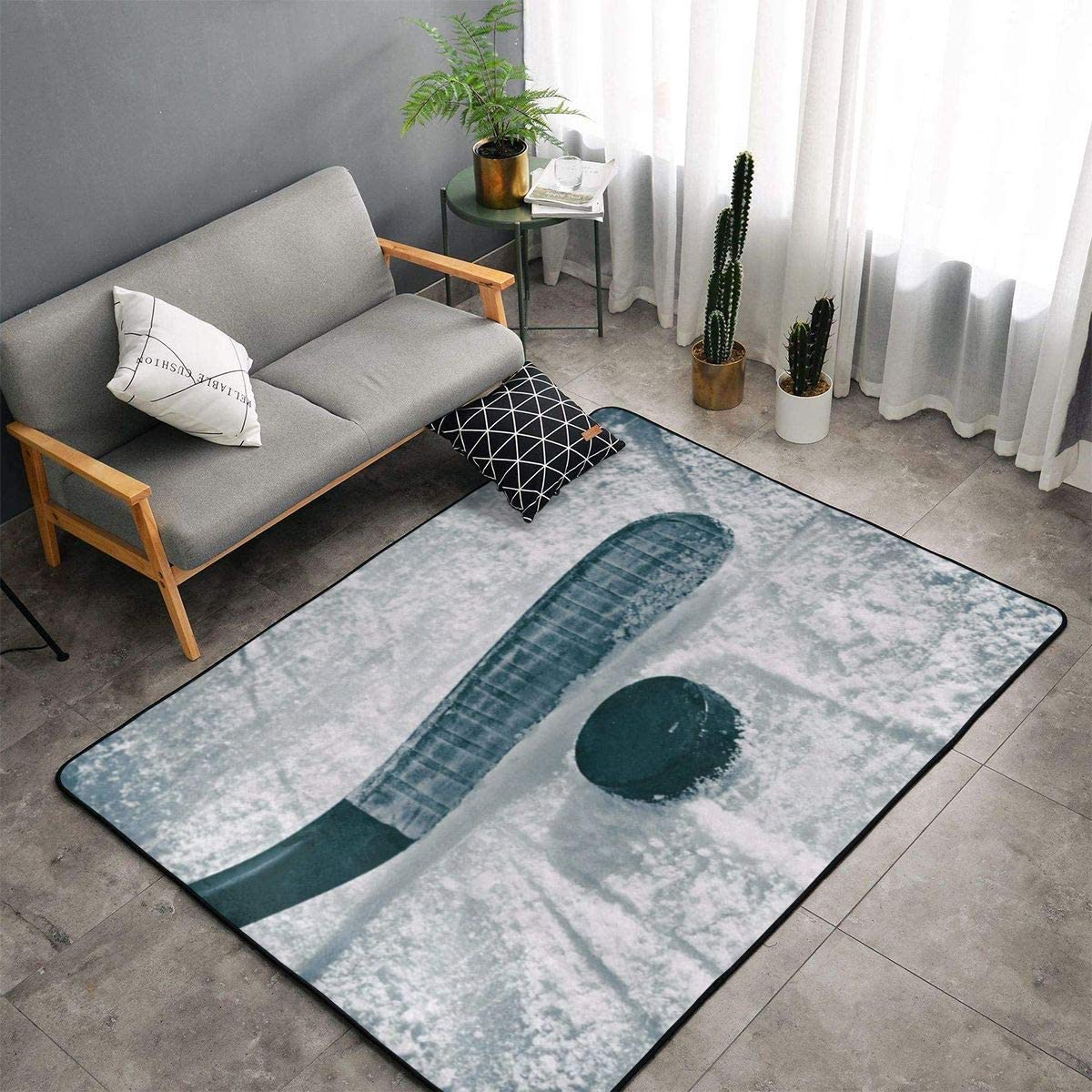 """Indoor Modern Soft Floor Area Rugs Fluffy Machine Washable Carpets 60"""" X 39"""" Ice Hockey Suitable for Children Bedroom, Office, Coffee Table, Balcony Home Decor Rugs"""